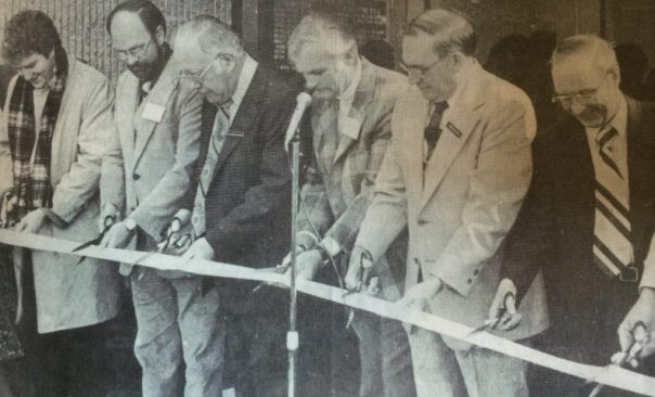 "This photo is from the book ""The Story of Kentwood."" It is a the ribbon cutting ceremony for Kentwood's City Center on March 17, 1979. From the left is, Frank Jefferis, representative for U.S. Senator Donald Riegle; James Jansma, representing Robert L. Wold, city center architect; Peter M. Lamberts, Kentwood mayor; Donald TerHorst, president, TerHorst and Rinzema Construction Co., general contractors; Thomas B. Clayton, administrative assistant, Kentwood; the Rev. Robert  McBroom, South Kent Baptist Church."