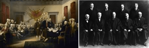 Left: 1776 - founding fathers in Philadelphia                    Right: 1923 - U.S. Supreme Court