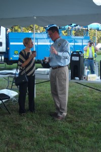 Grand Rapids Mayor Rosalyn Biss and Kentwood Mayor Stephen Kepley talk at the Consumers Energy's National Night Out event.