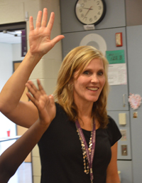 Wyoming's West Elementary teacher Julie Merrill familiarizes new students with her classroom rules
