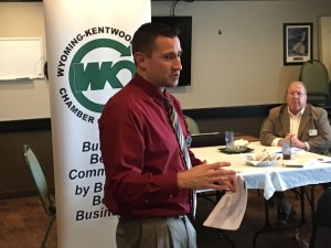 Brent Karhoff, of Hungerford Nichols CPAs and Advisors, speaking Nov. 30 to the Wyoming-Kentwood Area Chamber of Commerce's Business Briefing Luncheon. (K.D. Norris/Now.WKTV.org)