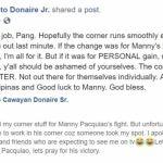 Nonito Donaire facebook post Pacquiao
