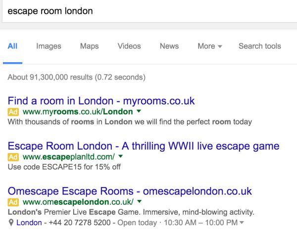Escape Room Google ads