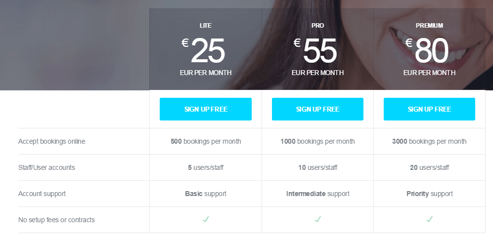 Bookify's pricing plan