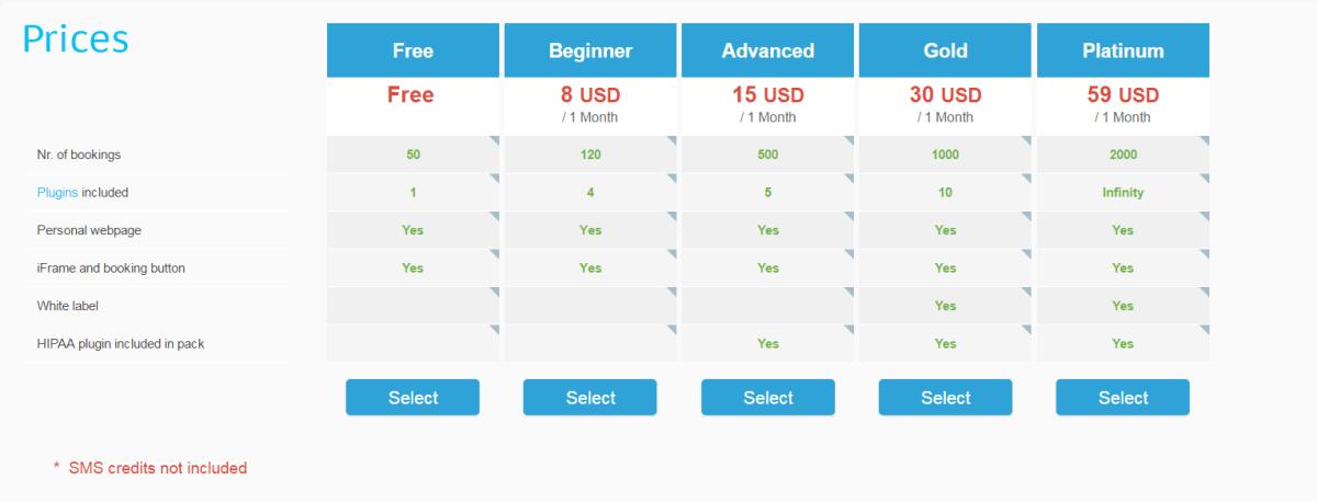 SimplyBook's pricing plan