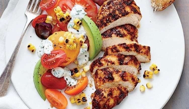 Grilled Chicken With Tomato Avocado Salad