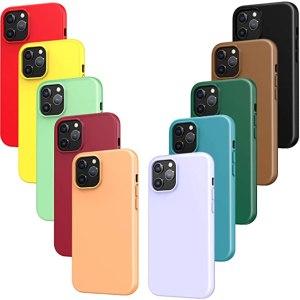 iVoler 10x Custodia Cover Compatibile con iPhone 12 PRO e 12, Ultra Sottile Morbido Silicone Custodie Case (Nero, Verde Scuro, Verde Chiaro, Blu, Arancione,...