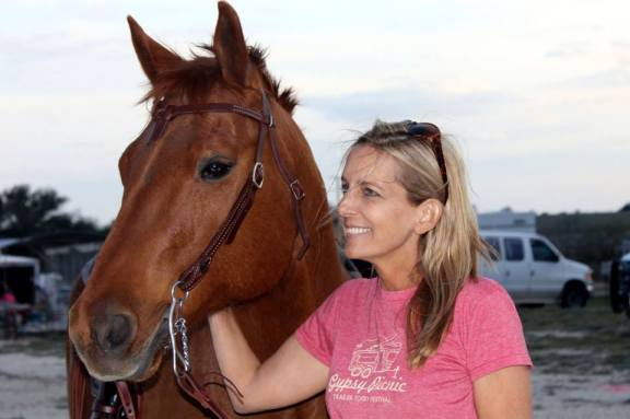 Andi Sloan, with her horse Heathen.