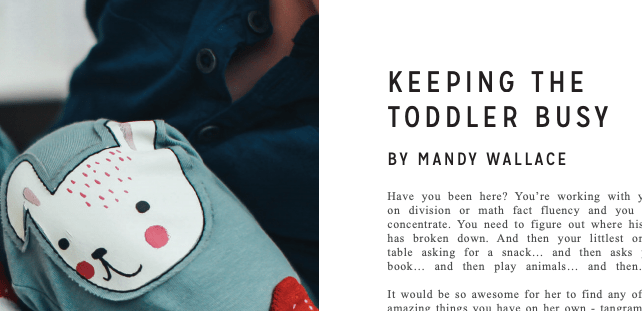 4 ways to keep a toddler busy **published in Secular Homeschooler magazine – vol. 2!**