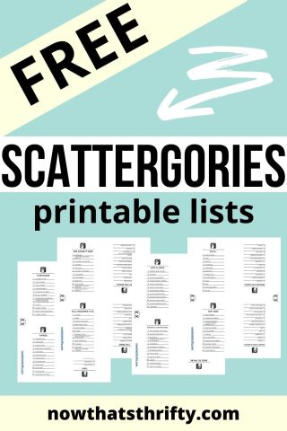 Free Scattergories Printable Lists Now That S Thrifty