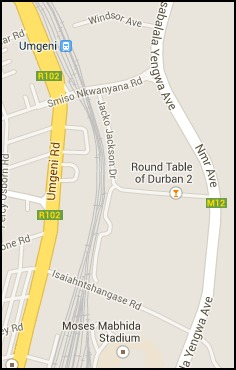 Map of the immediate vicinty of Moses Mabhida Stadium