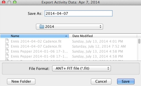 Screen for exporting activity data from PowerAgent to computer.