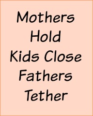 Mothers hold kids close. Dads tether.