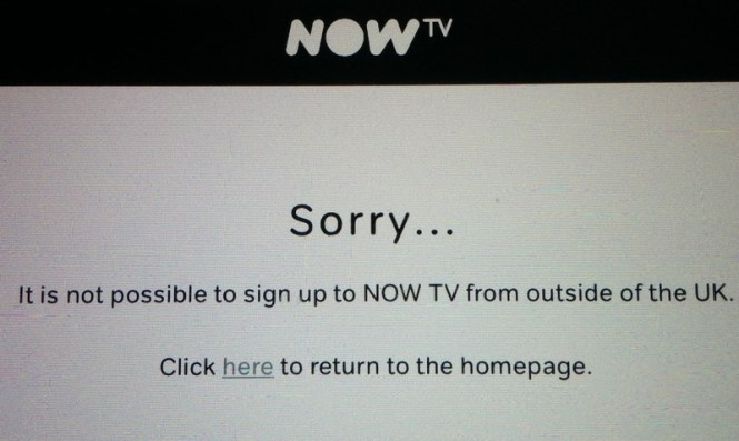 NOW TV only available in the UK - if you want to watch SKY from abroad on NOW TV you will get this error message