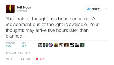 """your train of thought has been cancelled"""