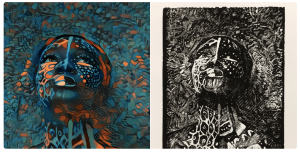 side-by-side views of a deep dream image and woodcut print