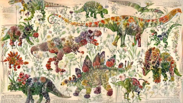 dinosaur pictures made of flowers