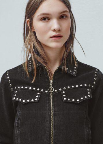 Mango Studded Black Denim Jacket