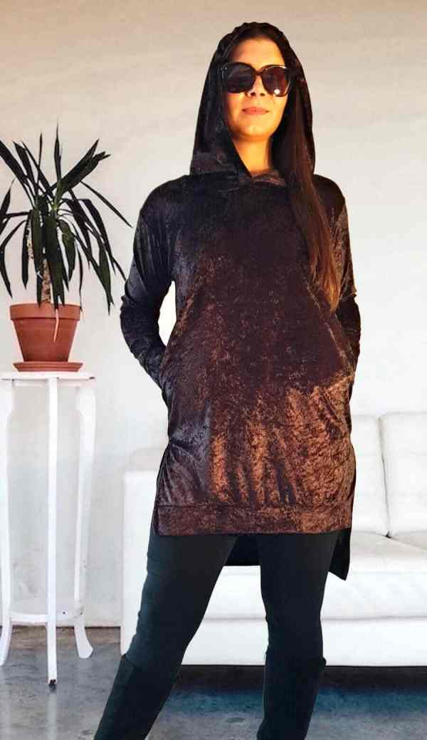 NXM-202 Kapucnis hosszú pulóver barna