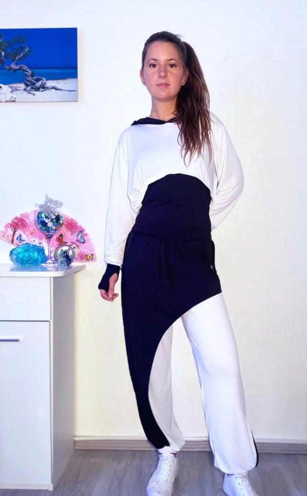 NXM-221 női jogging 3 részes szett fehér-fekete