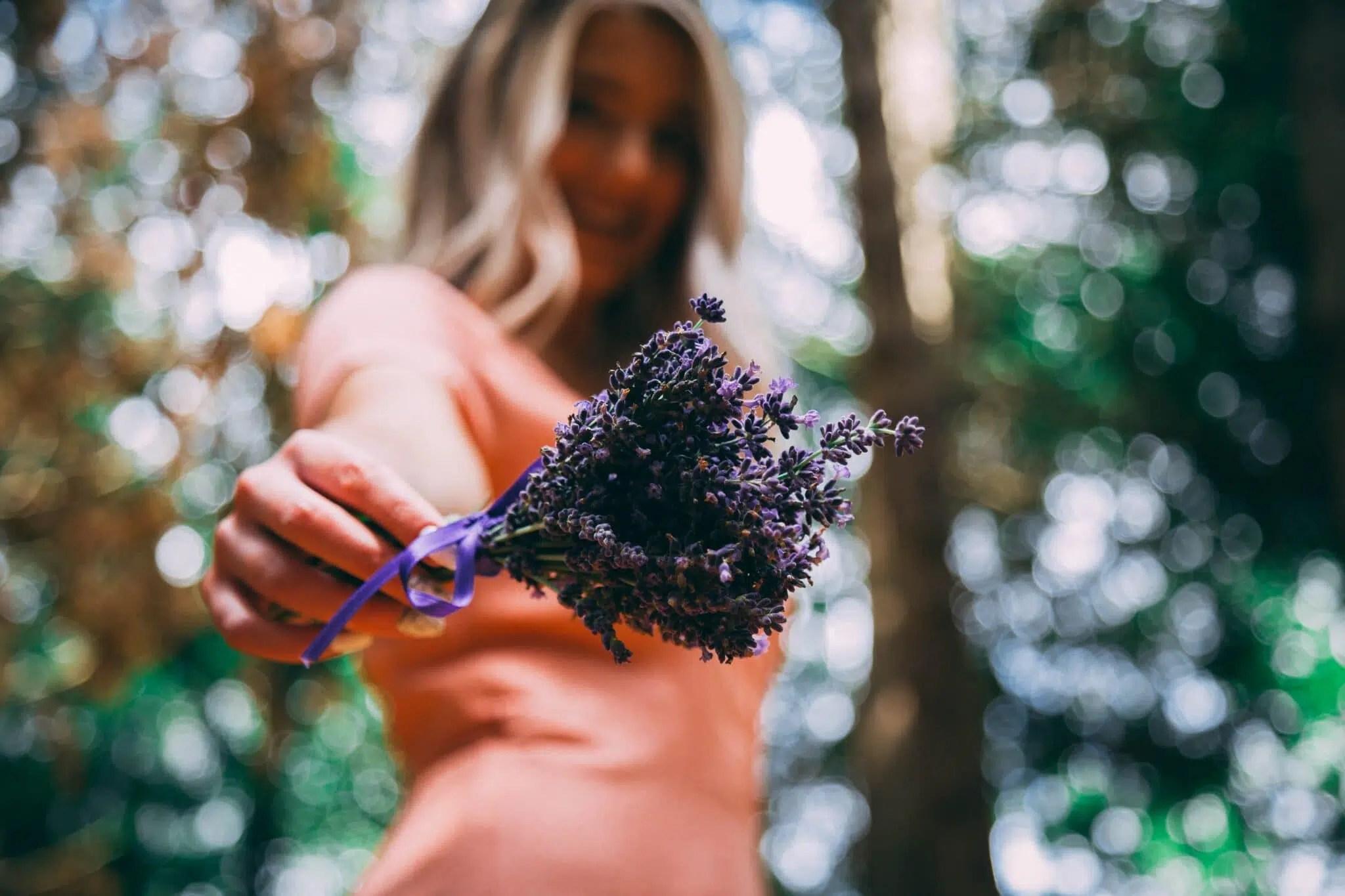 woman holding purple lavender