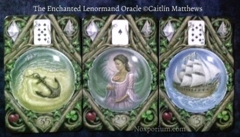 The Enchanted Lenormand Oracle: Anchor-35, Woman-29, & Ship-3.