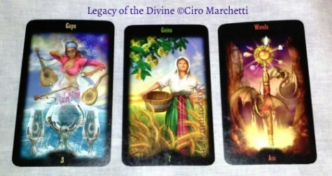 Legacy of the Divine: 3 of Cups, 7 of Coins, & Ace of Wands.