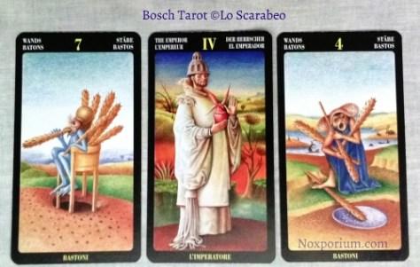 Bosch Tarot: 7 of Wands, The Emperor, & 4 of Wands.