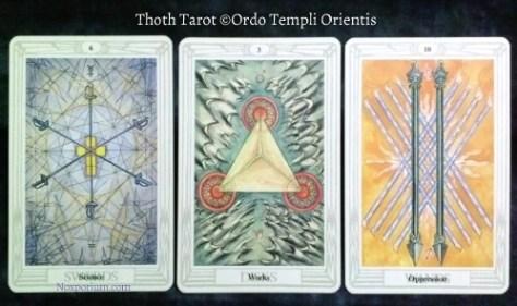 Thoth Tarot: 6 of Swords, 3 of Disks, & 10 of Swords.