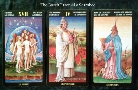 Bosch Tarot: The Star, The Emperor, & King of Chalices.