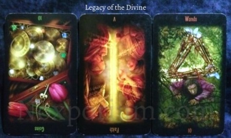 Legacy of the Divine: 10 of Coins reversed, Faith [V] reversed, & 10 of Wands.