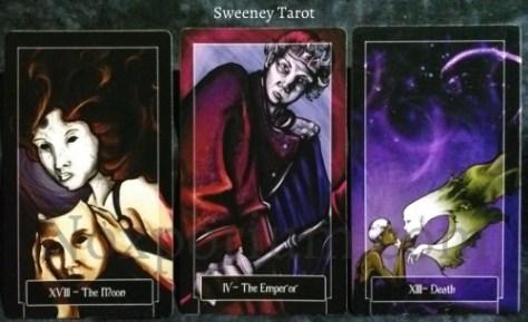 Sweeney Tarot: The Moon, The Emperor, & Death.