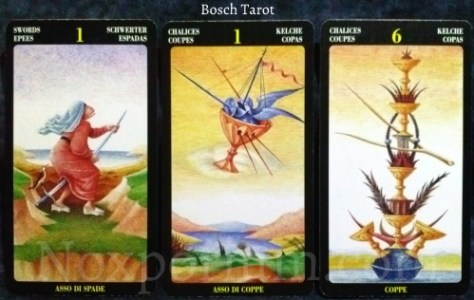 Bosch Tarot: Ace of Swords, Ace of Chalices, & 6 of Chalices.