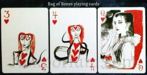 Bag of Bones: 3 of Hearts, 4 of Hearts, & Queen of Hearts.