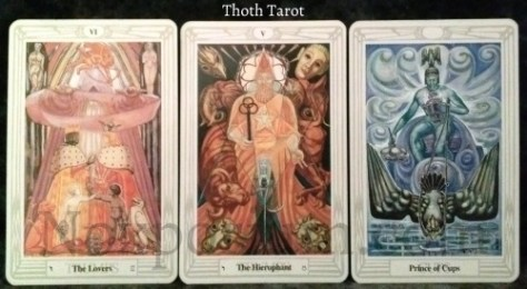 Thoth Tarot: The Lovers, The Hierophant, & Prince of Cups.