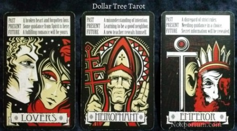 The Dollar Tree Tarot Majors: Lovers, Heirophant, & Emperor.