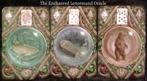 The Enchanted Lenormand Oracle: Fish (34), Coffin (8), & Bear (15).