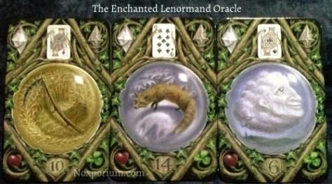 The Enchanted Lenormand Oracle: Scythe (10), Fox (14), & Cloud (6).