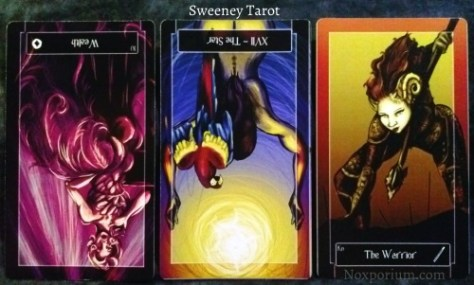 Sweeney Tarot: 10 of Coins reversed, The Star reversed, & Knight of Wands.