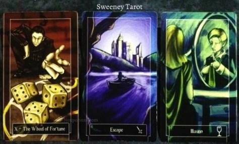 Sweeney Tarot: The Wheel of Fortune, 6 of Swords, & 7 of Cups.