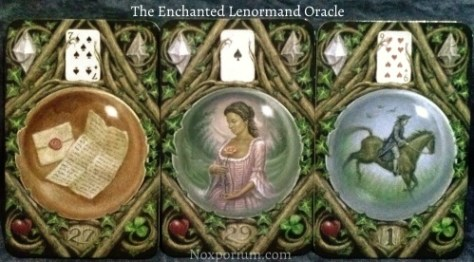 The Enchanted Lenormand Oracle: Letter (27) + Woman (29) + Rider (1).