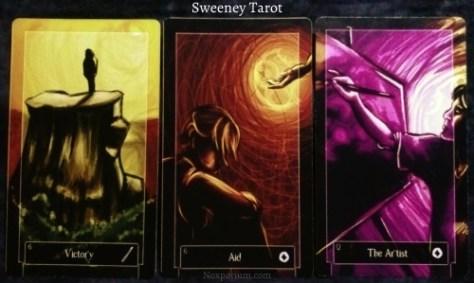 Sweeney Tarot: 6 of Wands, 6 of Coins, & Queen of Coins.