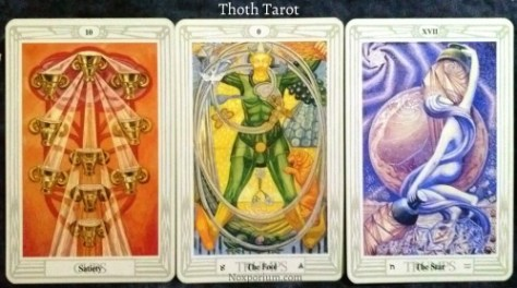 Thoth Tarot: 10 of Cups, The Fool, & The Star.