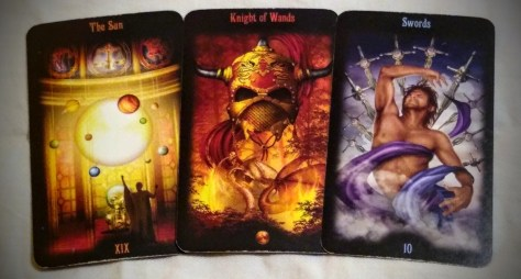 Legacy of the Divine: The Sun [XIX], Knight of Wands, & 10 of Swords.