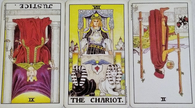 Universal Waite: Justice [XI] (reversed), The Chariot [VII], & 2 of Wands (reversed).