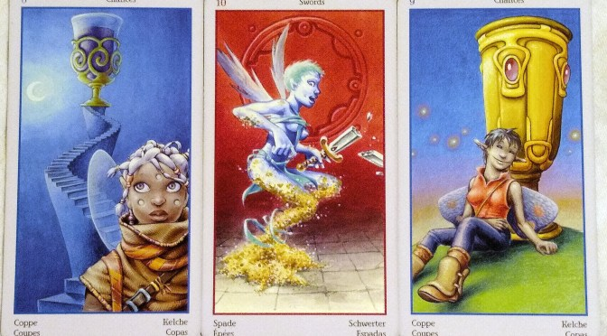 Fey Tarot: 8 of Chalices, 10 of Swords, & 9 of Chalices.