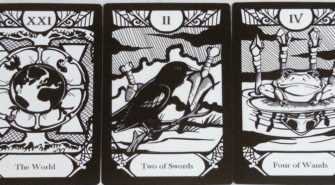 Animalis Os Fortuna: The World [XXI], Two of Swords, & Four of Wands.