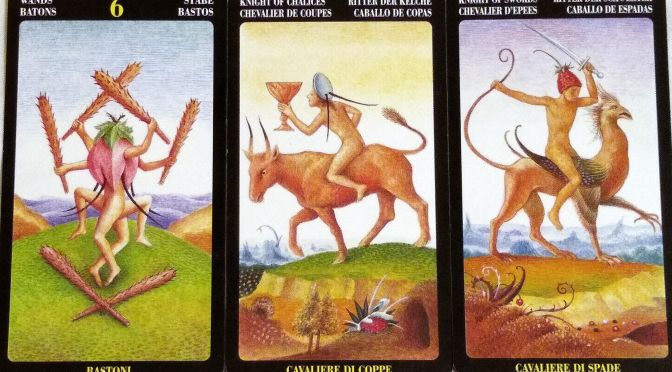 Bosch Tarot: 6 of Wands, Knight of Chalices, & Knight of Swords.