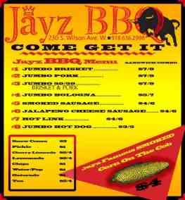 Jayz BBQ Menu
