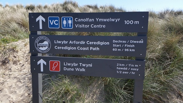 Sign marking the end of the Ceredigion Coast Path